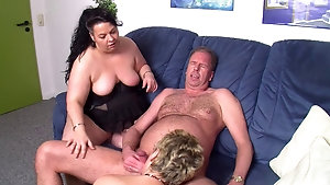 Fat cock hungry MILFs have threesome with a hung pervert