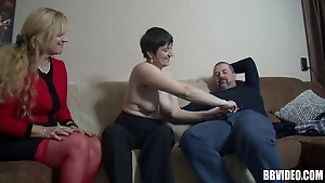 Mature sluts share a fat guy and get creamed after