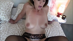 Gorgeous mom in lingerie enjoys seduction and fucking in POV