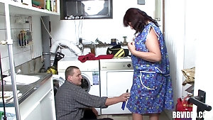 Fat mature housewife gets fucked by a plumber and masturbates