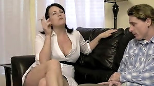 Mature brunette seductress smokes before being deeply drilled doggy style
